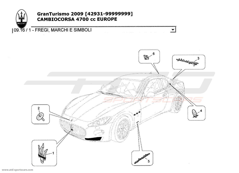 Maserati GranTurismo 4,7L Boite F1 2009 TRIMS, BRANDS AND
