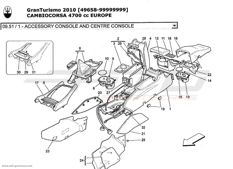 Maserati GranTurismo 4,7L Boite F1 2010 ACCESSORY CONSOLE