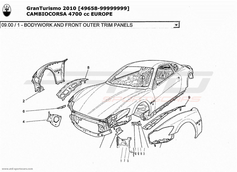 Maserati GranTurismo 4,7L Boite F1 2010 BODYWORK AND FRONT