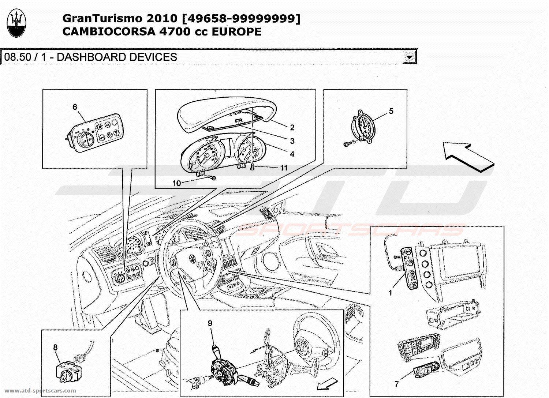 Maserati GranTurismo 4,7L Boite F1 2010 DASHBOARD DEVICES