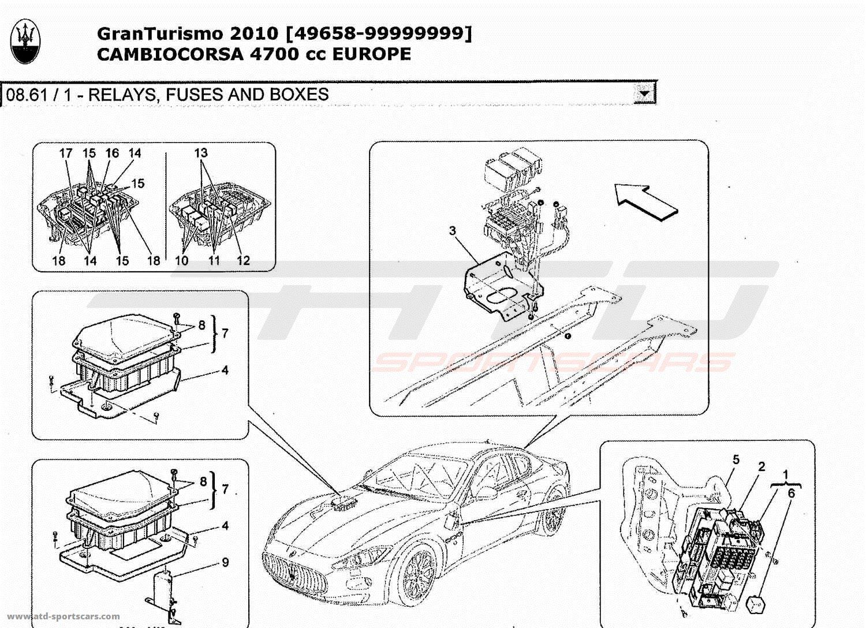 Maserati GranTurismo 4,7L Boite F1 2010 RELAYS, FUSES AND