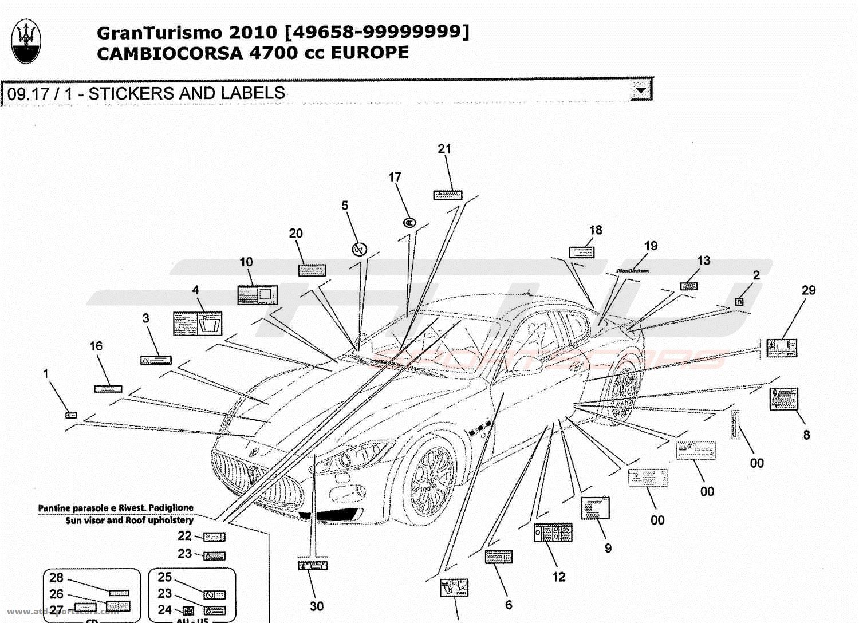Maserati GranTurismo 4,7L Boite F1 2010 STICKERS AND