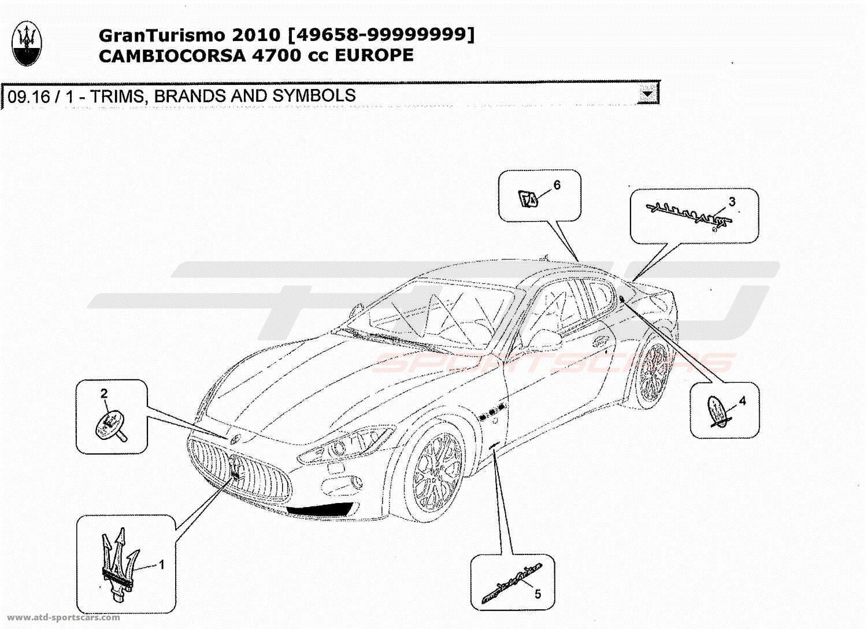 Maserati GranTurismo 4,7L Boite F1 2010 TRIMS, BRANDS AND