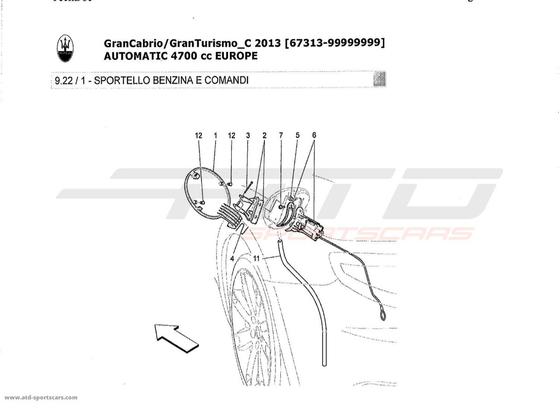 Maserati GranTurismo Grancabrio 4,7l AUTO 2013 FUEL TANK