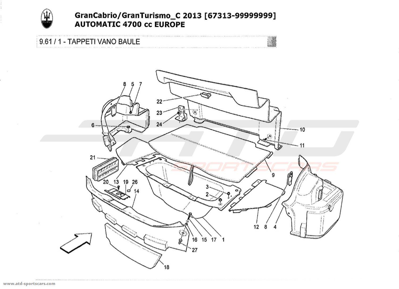 Maserati GranTurismo Grancabrio 4,7l AUTO 2013 LUGGAGE