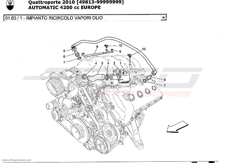 Maserati Quattroporte 4,2L Boite Auto 2010 Air Intake