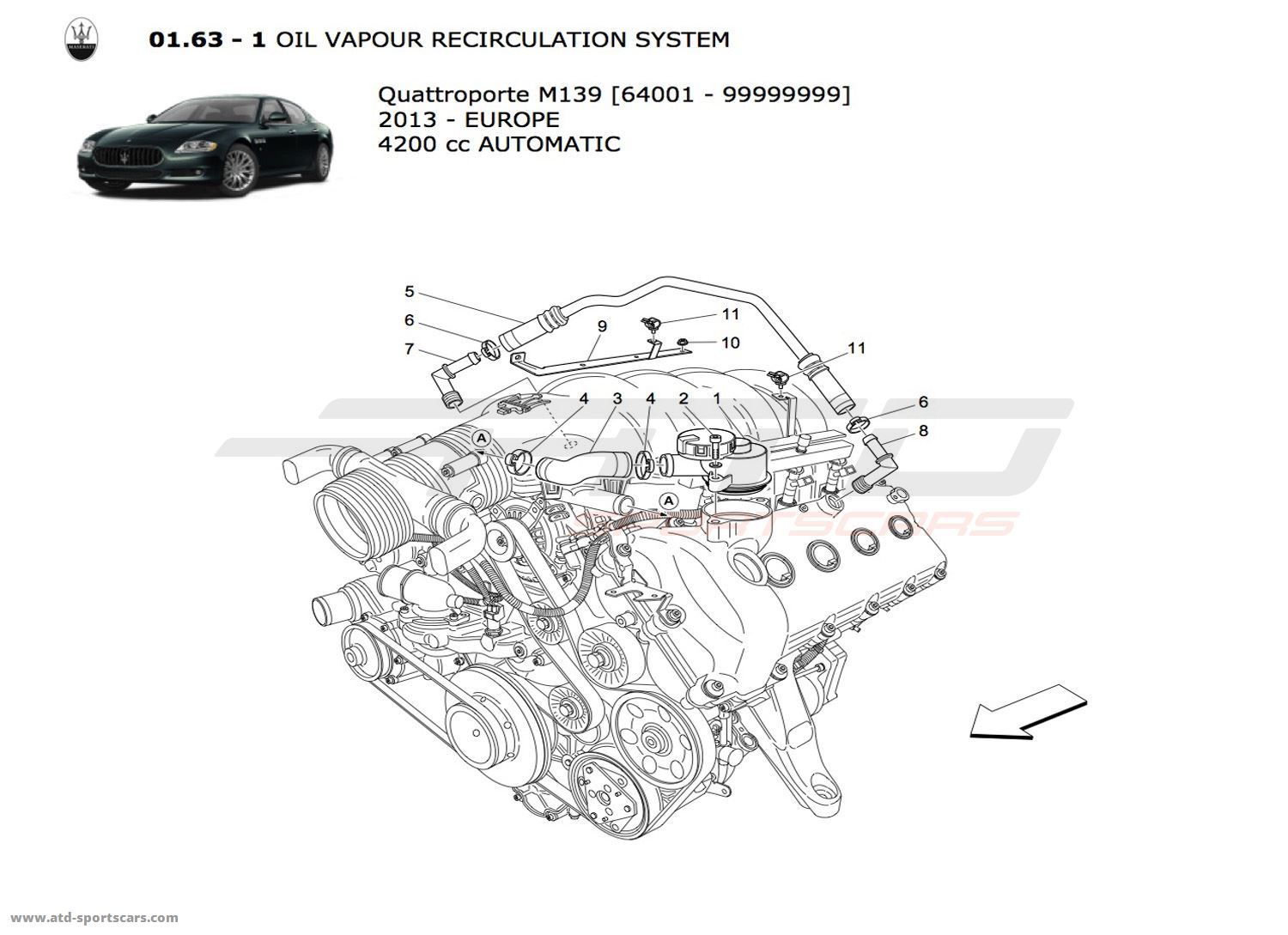 Maserati Quattroporte 4 2l Boite Auto Oil Vapour Recirculation System 2 Parts At Atd