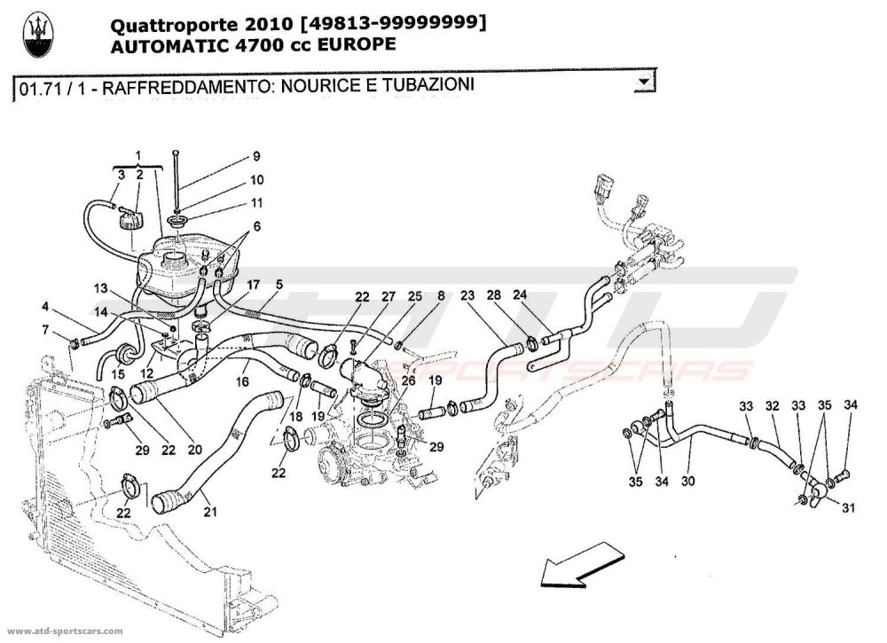 medium resolution of maserati quattroporte 4 7l boite auto 2010 cooling system nourice and lines