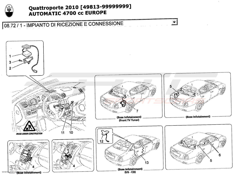 hight resolution of maserati quattroporte 4 7l boite auto 2010 reception and connection system