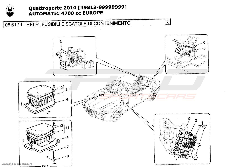 Maserati Quattroporte 4,7L Boite Auto 2010 RELAYS, FUSES