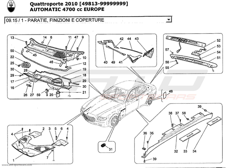 Maserati Quattroporte 4,7L Boite Auto 2010 SHIELDS, TRIMS
