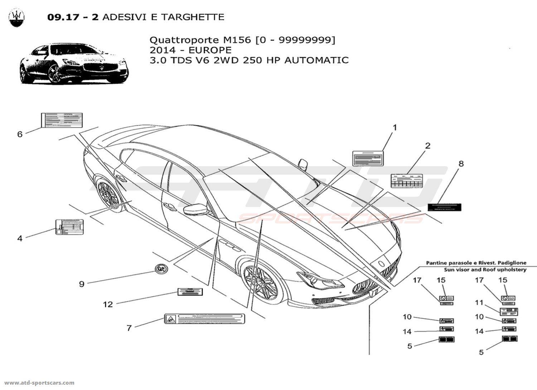 Maserati Quattroporte V6 3.0L Diesel Auto 2014 STICKERS