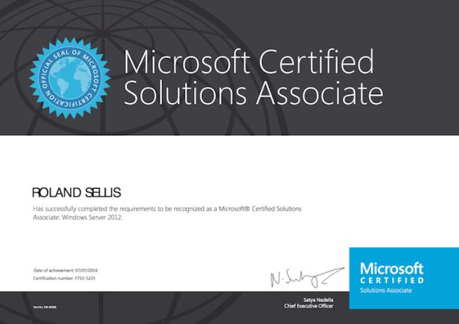 Certificaat MCSA 2012
