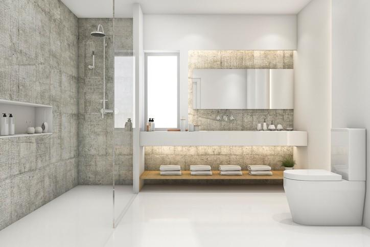 walk in shower with ames tiles
