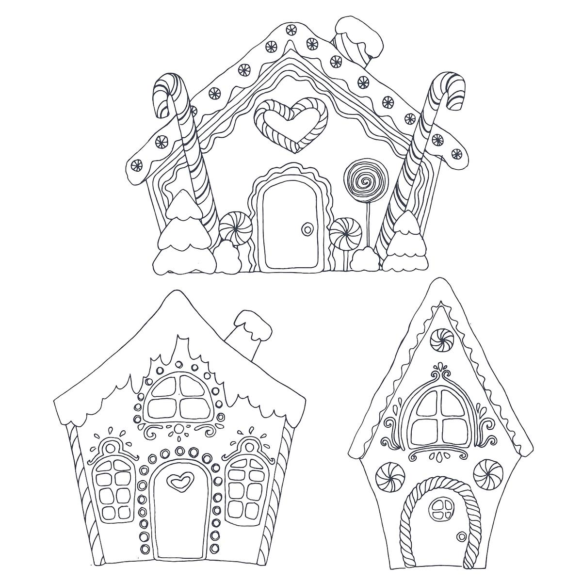 35 Gingerbread Houses Coloring Sheets