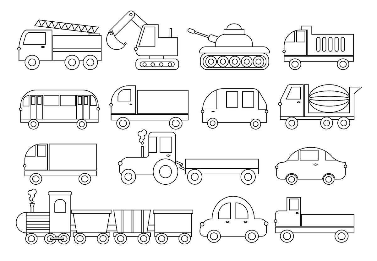 Moving Vehicle Coloring Pages 10 Fun Cars Trucks Trains
