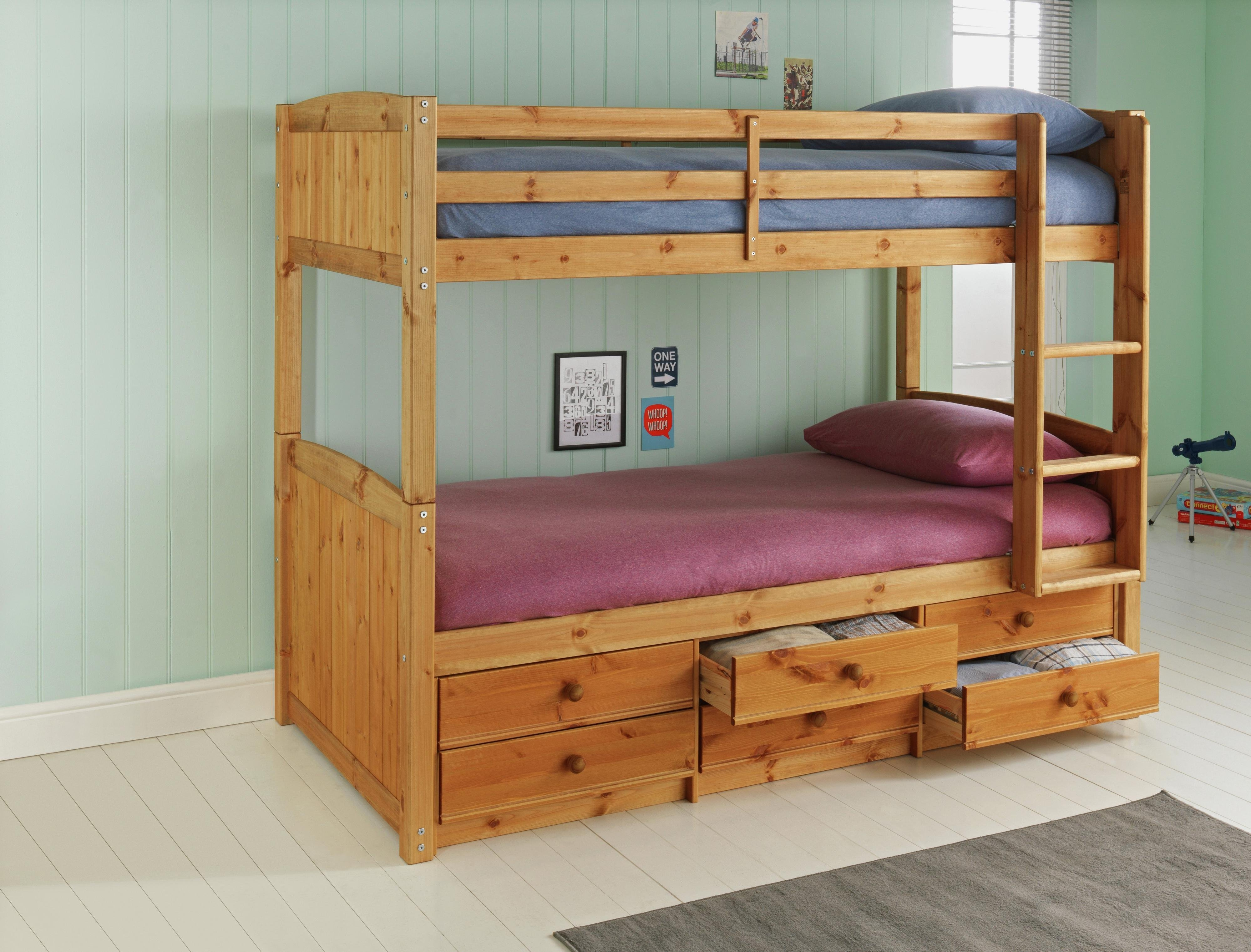 bunk beds with sofa bed underneath argos chocolate color buy home leigh pine detachable 2 mattresses