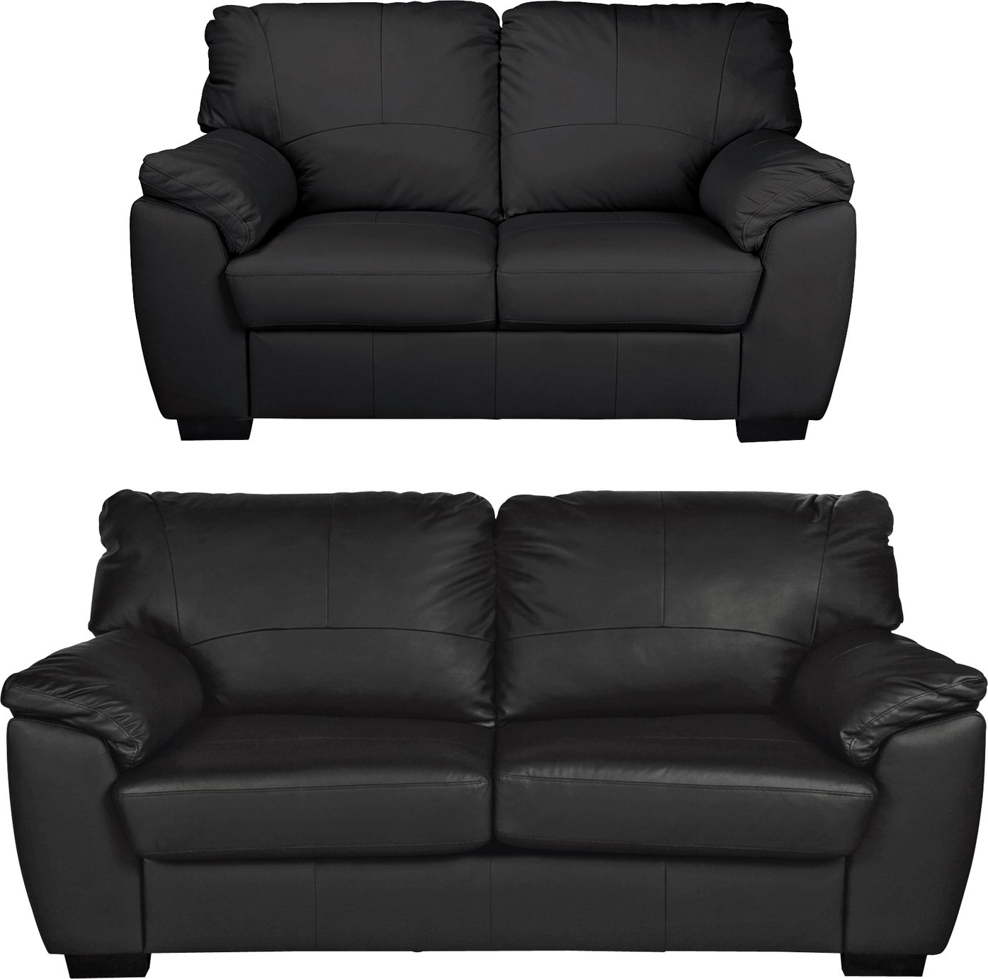 3 seater sofa black leather hot pink sleeper buy argos home milano 2 and
