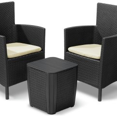 Outdoor Rattan Armchair Uk Fishing Chair Malaysia Buy Keter Iowa 2 Seater Effect Bistro Set With Storage Play Video