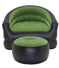 PVC Flocked Inflatable Camping Chair with Free Footstool ...