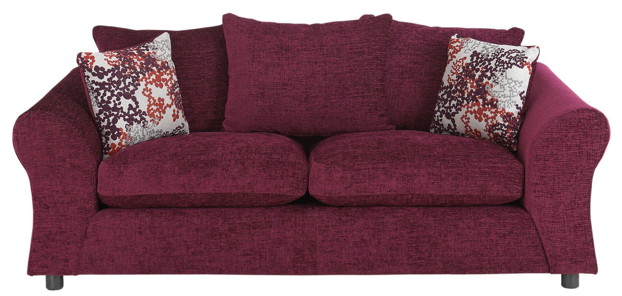 argos brooklyn sofa large two seater length lauren plum chenille