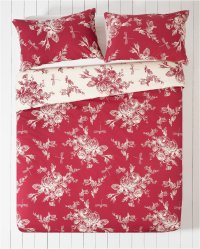 Collection - Lottie Red and Cream - Bedding Set - Superking