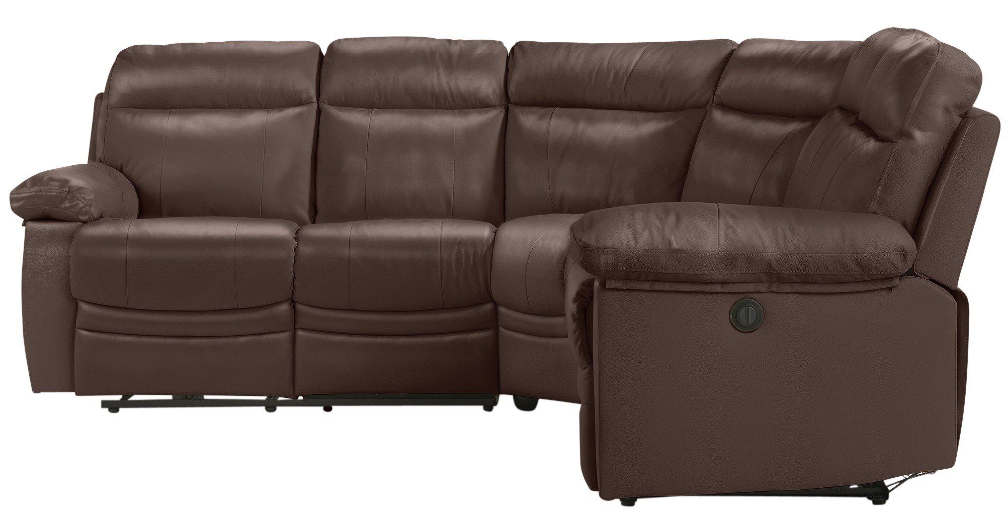 argos recliner sofa ashley millennium dexpen saddle power paulo leather corner group chocolate