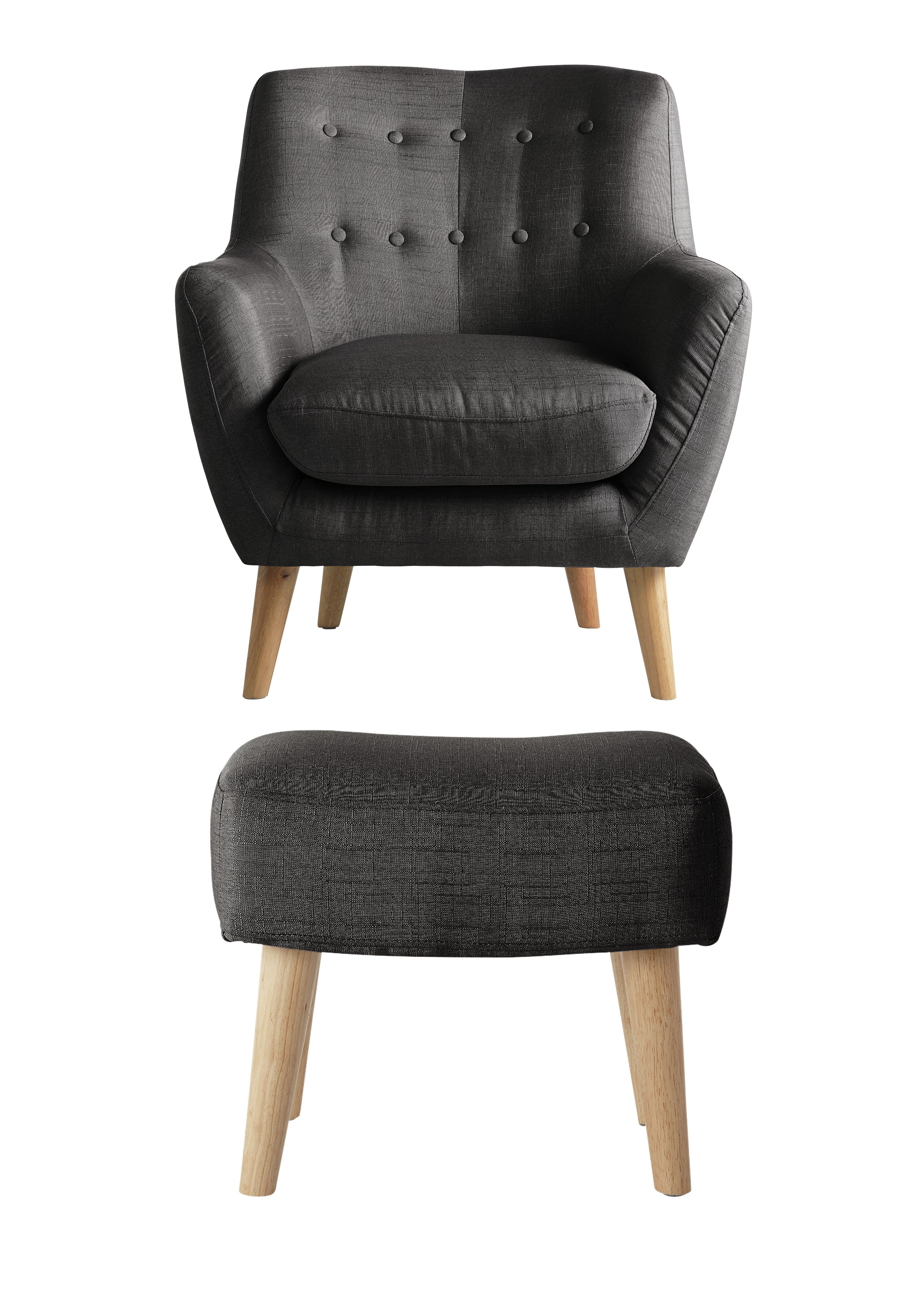 chair stool argos traditional barber chairs hygena otis fabric and footstool charcoal review