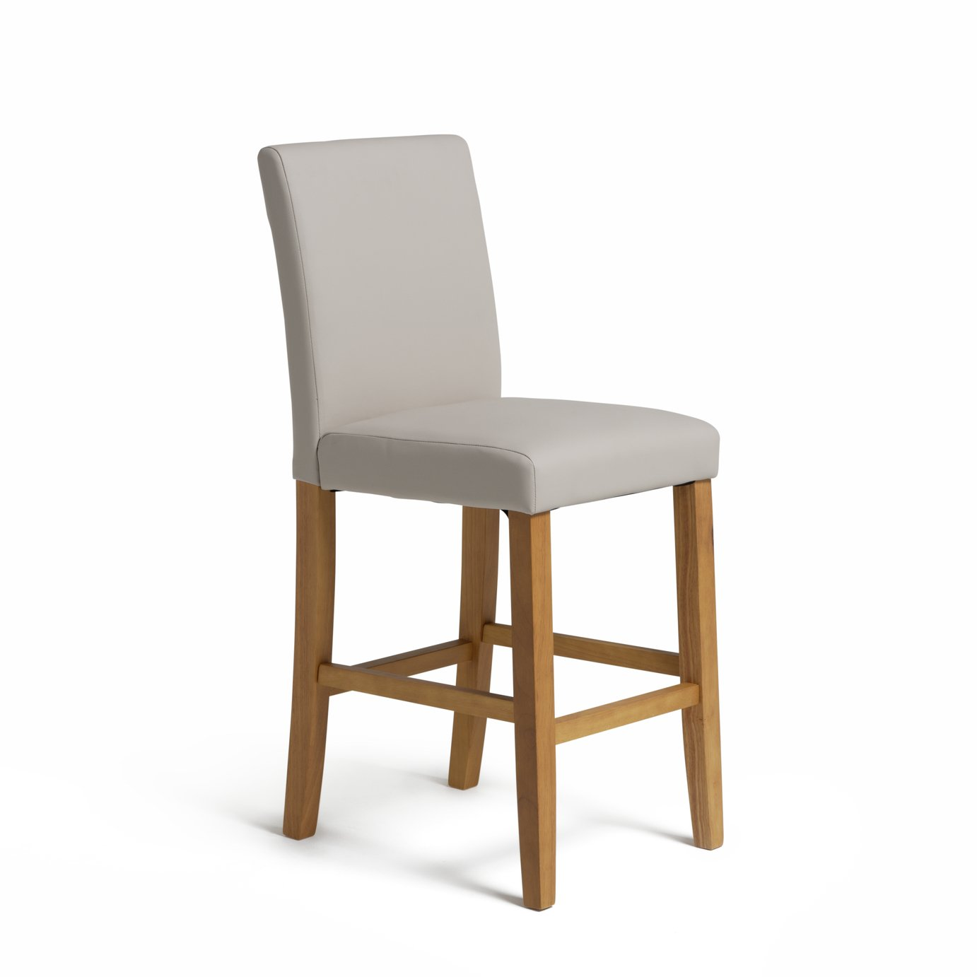 chair stool argos rural king folding chairs buy home winslow wood leather effect bar cream