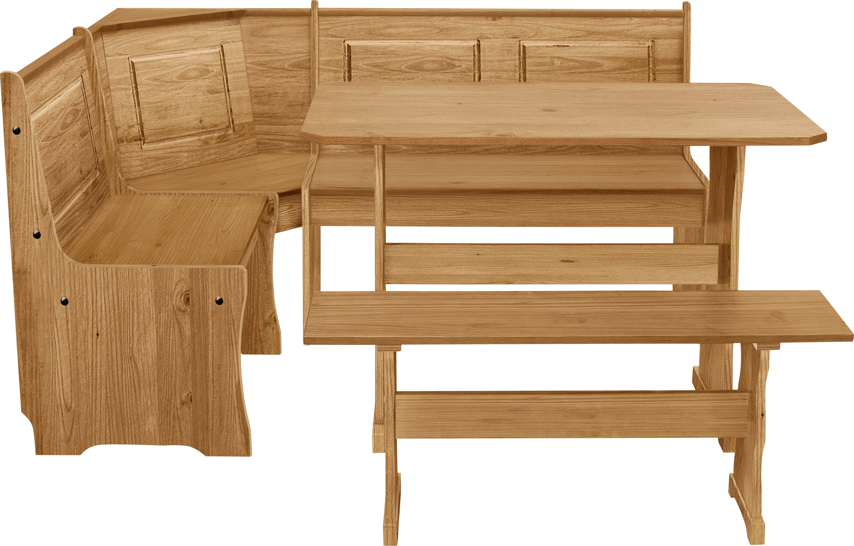 wooden kitchen chairs argos desk amazon home puerto rico nook table 3 corner bench set pine