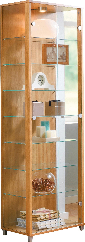 Buy HOME 2 Door Glass Display Cabinet Light Oak Effect At Your Online Shop For