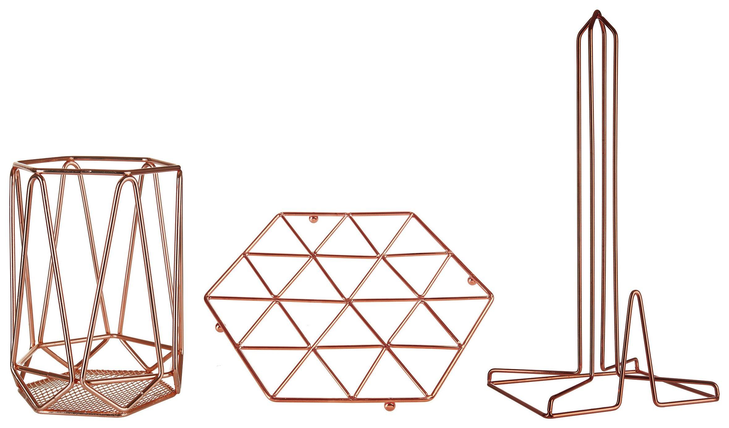 copper kitchen utensil holder organisers vertex finish trivet roll and