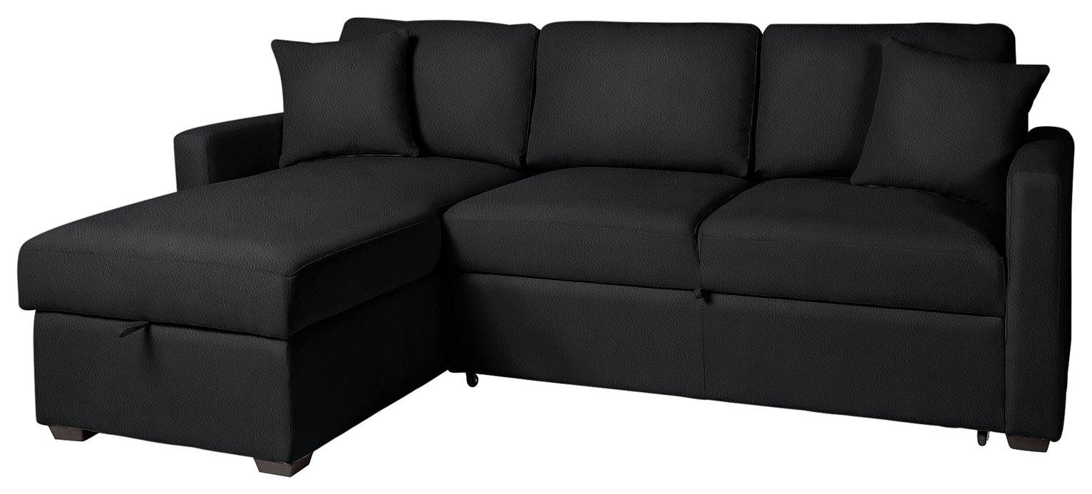 black leather sofa bed argos bernhardt sleeper buy home reagan left corner faux by
