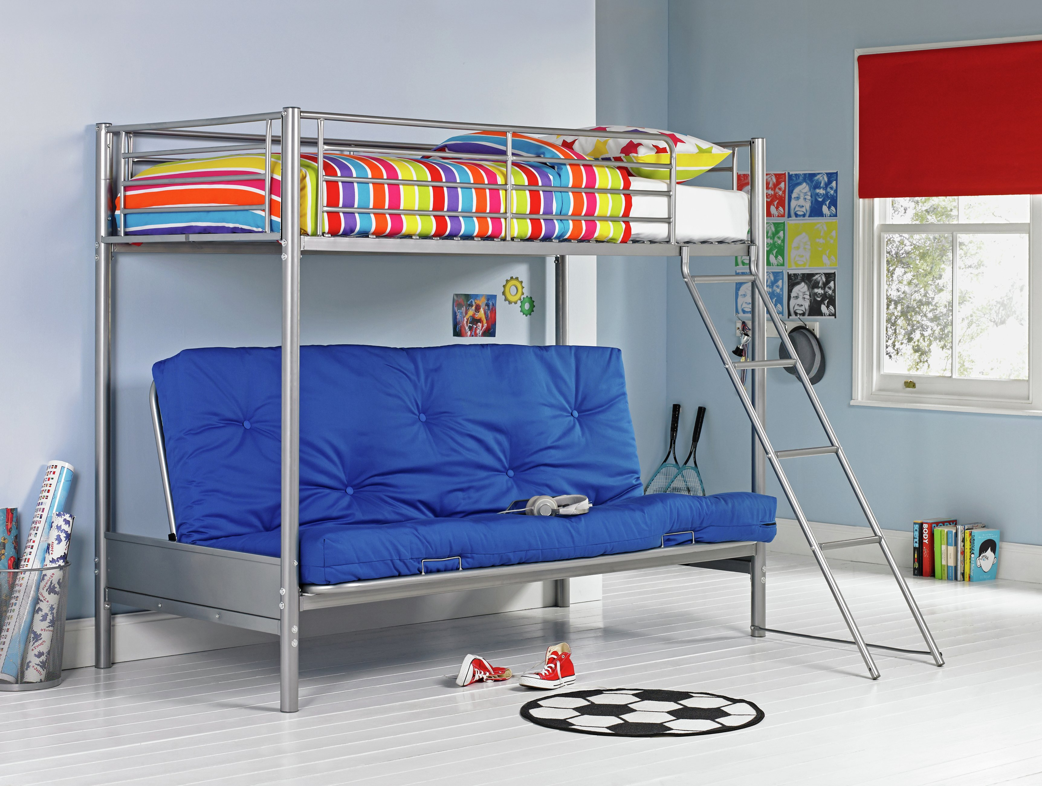 bunk beds with sofa bed underneath argos ciara leon buy home metal frame blue futon kids
