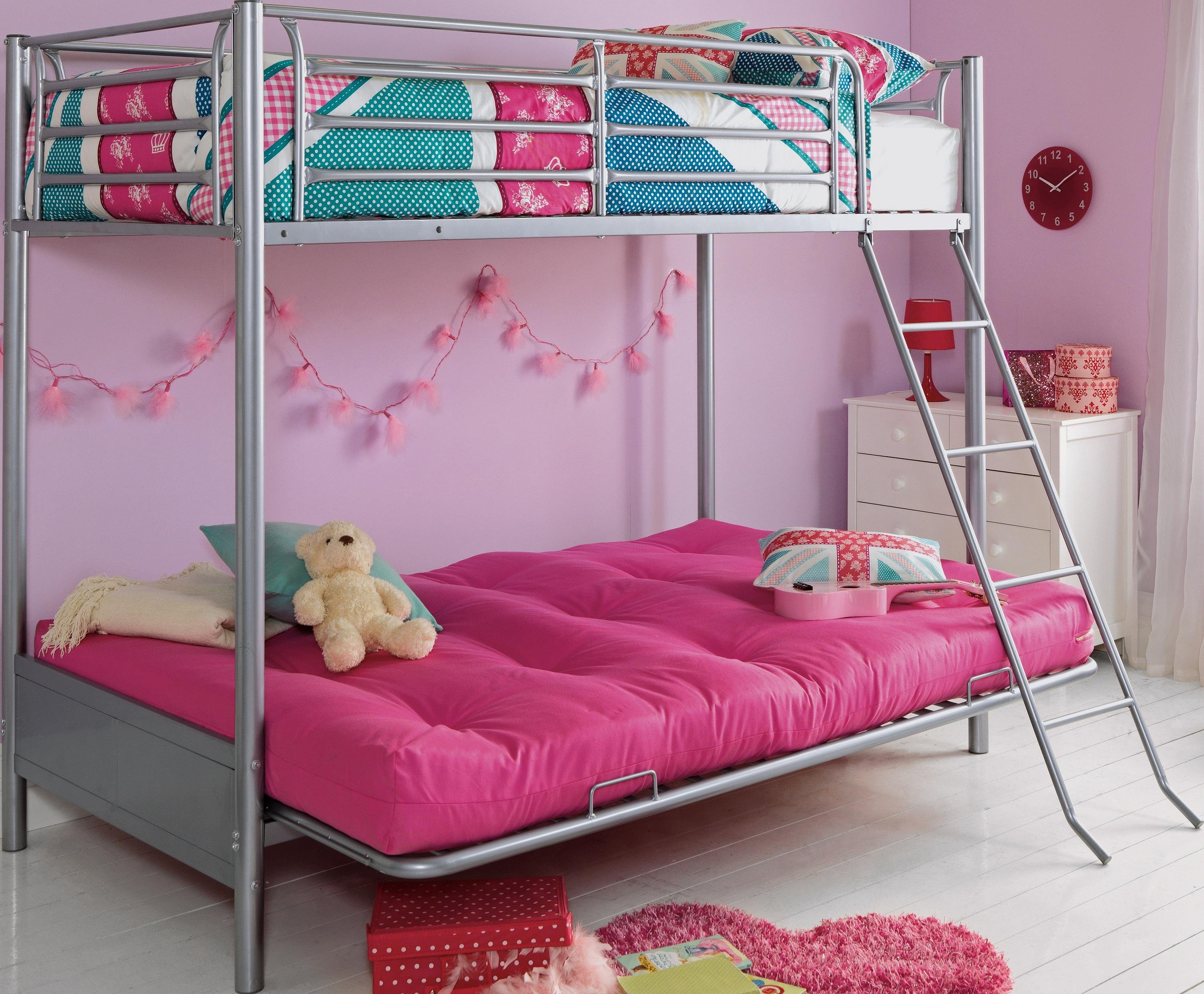 bunk beds with sofa bed underneath argos how thick should a mattress be buy home metal frame fuchsia futon kids