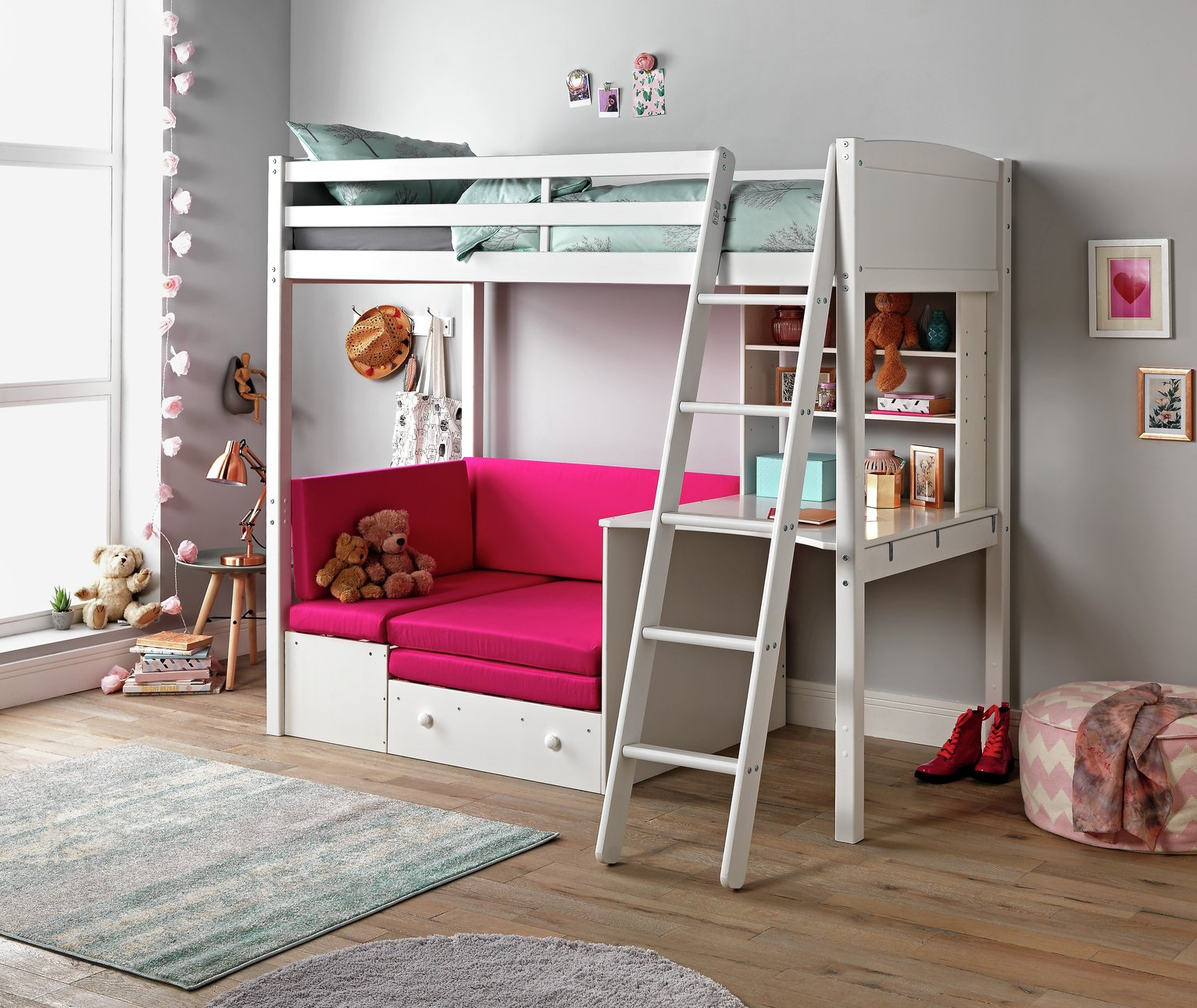 bunk beds with sofa bed underneath argos leather studded buy home classic white high sleeper fuchsia