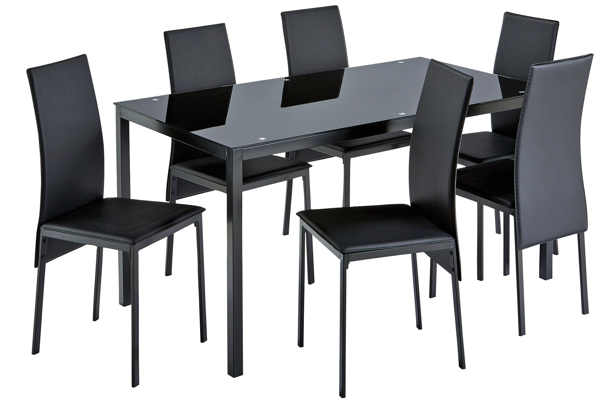 6 chair dining set swing for 1 year old buy argos home lido glass table and chairs black