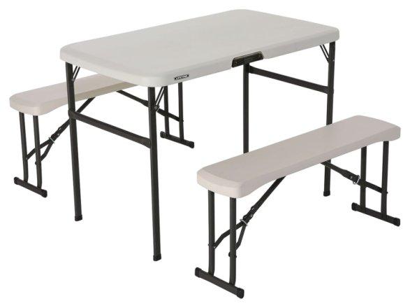 buy lifetime plastic 4 seater picnic table almond patio sets argos