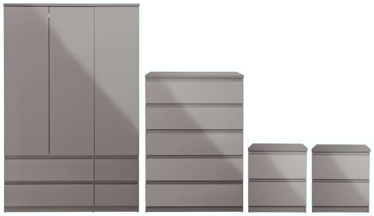 Buy Argos Home Jenson Gloss 4 Piece 3 Door Wardrobe Set Grey Bedroom Furniture Sets Argos