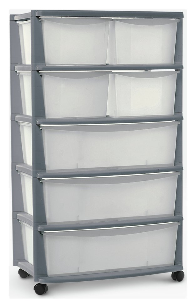Argos Home 7 Drawer Silver Plastic Wide Tower Storage Unit