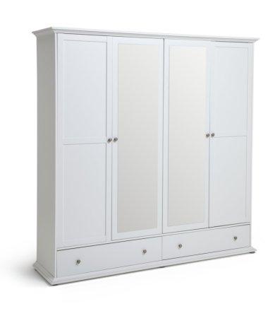 buy habitat heathland 4 door 2 drawer mirror wardrobe white wardrobes argos
