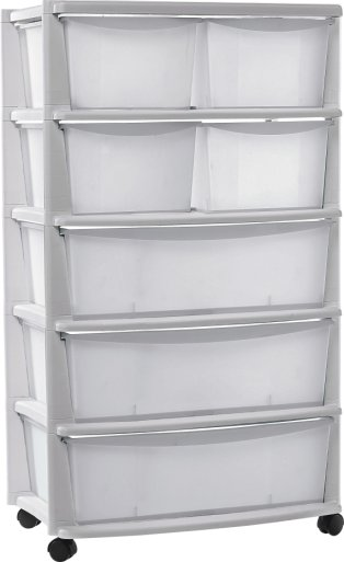 Buy Home 7 Drawer Plastic Wide Tower Storage Unit White