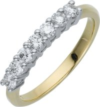 Buy Everlasting Love 9ct Gold 7 Stone Eternity Ring - Size ...
