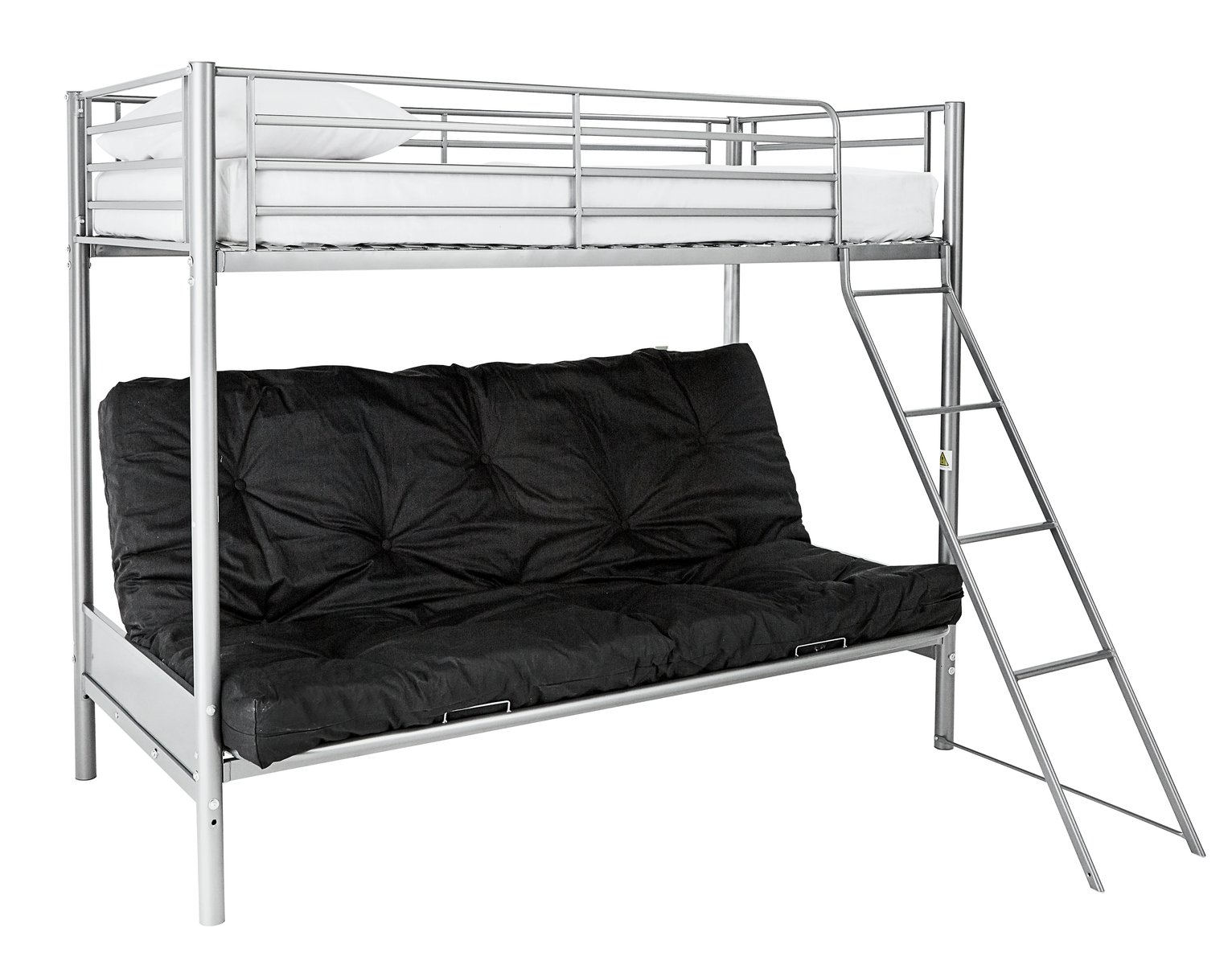 bunk beds with sofa bed underneath argos leather vs fabric buy home metal frame black futon kids mattress