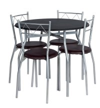 Buy HOME Oslo Round Dining Table & 4 Chairs - Black at ...