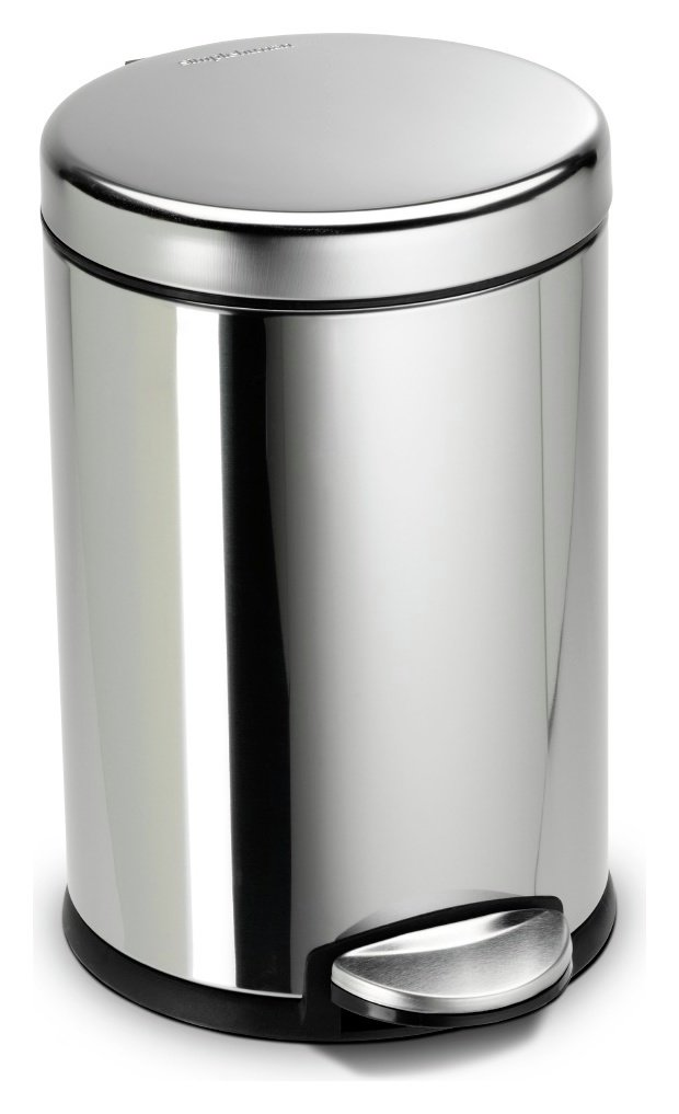 simplehuman kitchen trash can portable cabinets buy 4.5 litre pedal bin - polished stainless ...