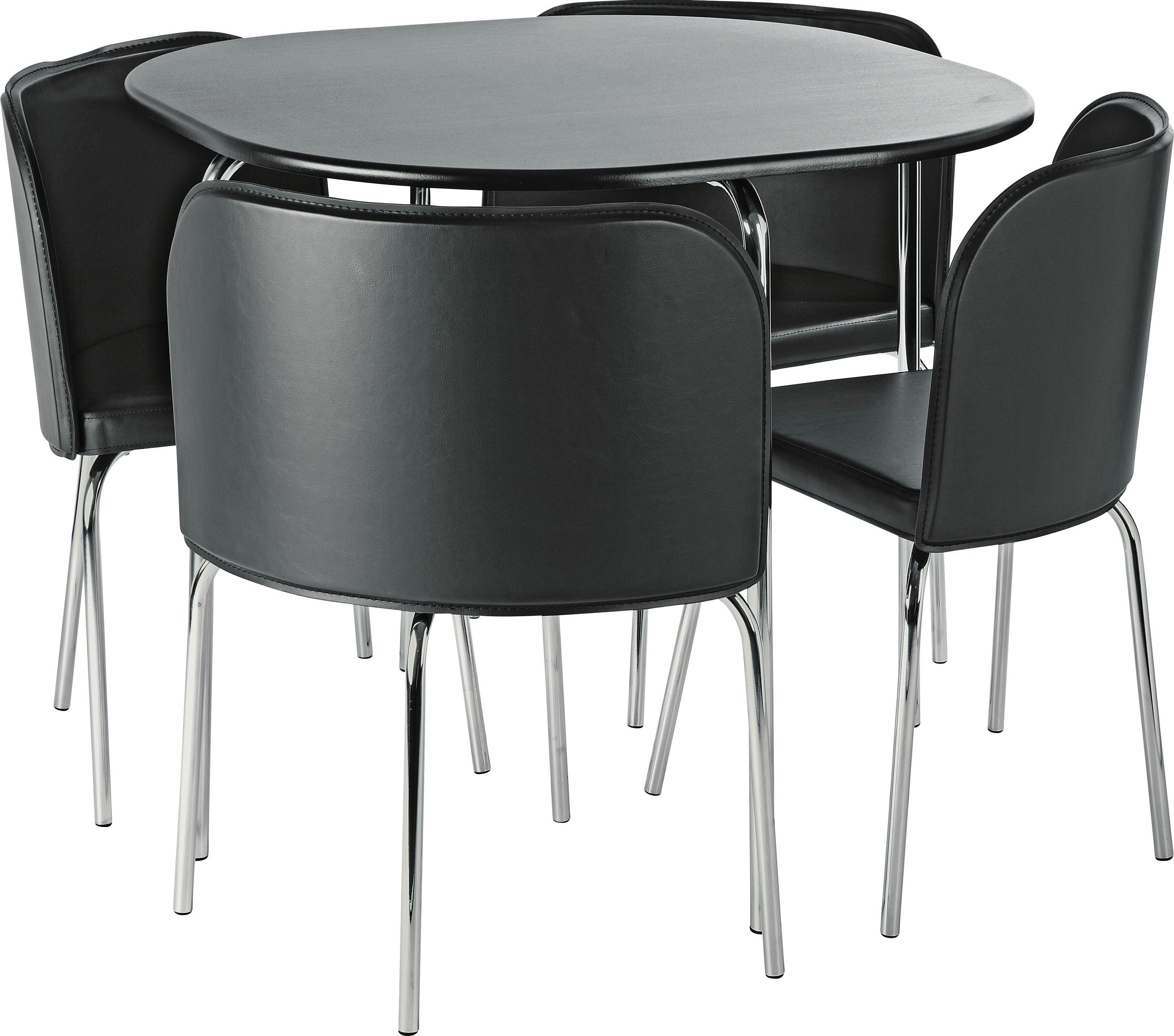 set of chairs half back chair covers for sale dining sets kitchen tables argos home amparo table 4 black