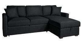 buy habitat reagan right corner faux leather sofa bed black sofa beds argos