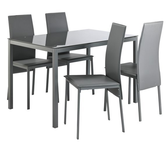 black kitchen tables wood stoves for sale results chairs argos home lido glass table 4 grey