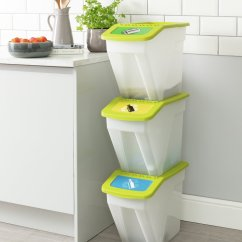 Kitchen Recycling Bins Shaker Cabinets Argos Home 34 Litre Plastic Set Of 3